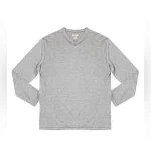 Striped Grey Elie Linen-Blend Long-Sleeved T-Shirt