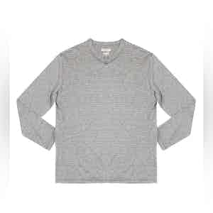 Striped Grey Elie Linen-Blend Long-Sleeved T-Shirt