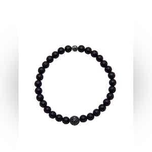 Black Bracelet with Matte Onyx and Black CZ Diamond