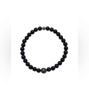 Black Bracelet with Matte Onyx and Black CZ Diamond