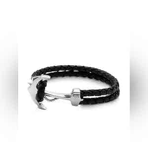 Black Leather Bracelet with Silver Anchor