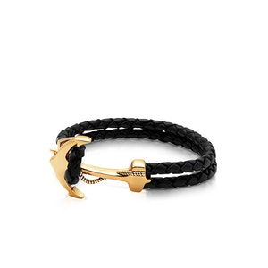 Black Leather Bracelet with Gold Anchor