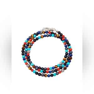 The Mykonos Collection - Turquoise, Red Glass Beads, Blue Lapis, Hematite and Onyx
