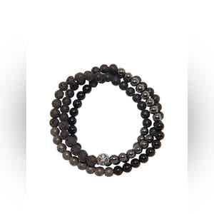 Wrap-Around Bracelet with Lava Stone, Hematite and Agate