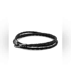 Men's Black Wrap-Around Leather Bracelet