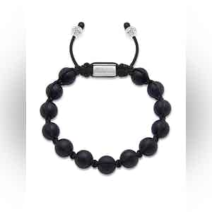 Beaded Bracelet with Silver and Matte Onyx