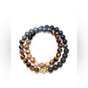 Wrap-Around Bracelet with Pyrite, Lava Stone, Hematite, Tiger Eye, Jasper, Blue Dumortierite and Gold Buddha
