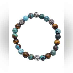 Beaded Bracelet with Bali Turquoise, Tiger Eye and Indian Silver