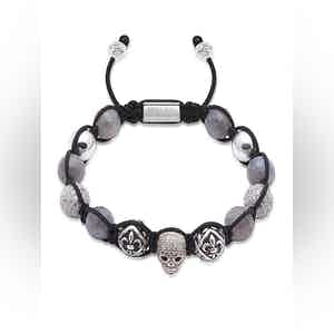 Beaded Bracelet with Labradorite and Silver Skull