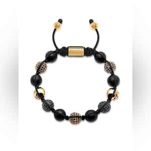 Beaded Bracelet with Matte Onyx and Black/Gold CZ Diamonds