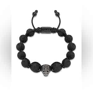 Beaded Bracelet with Lava Stone and Black CZ Diamond Skull