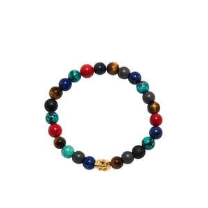 Multi-Colored Bracelet with Gold Skull