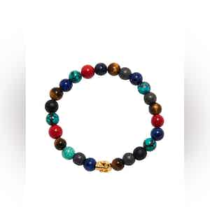 Multi-Colored Bracelet with Gold Skull