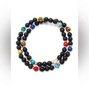 Wrap-Around Bracelet with Matte Onyx, Blue Lapis, Bali Turquoise, Brown Tiger Eye and Howlite