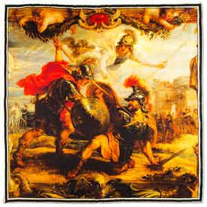 Achilles Slays Hector Printed Silk Pocket Square