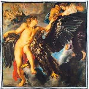 Abduction of Ganymede Printed Silk Pocket Square