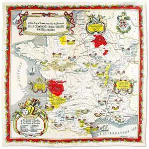 Wine Regions of France Printed Silk Pocket Square