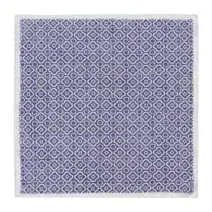 Dark Blue and White Cotton Mosaic Pocket Square