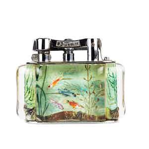 Vintage Chrome-Plated Dunhill Rainbow Fish Aquarium Lighter