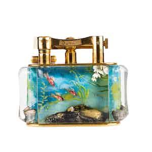 Vintage Gold-Plated Dunhill Deep Blue Water Aquarium Lighter