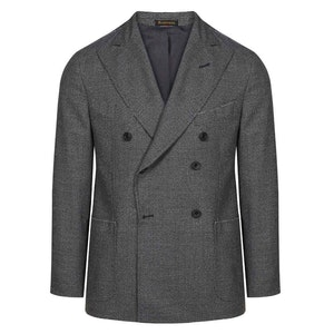Grey Houndstooth Double Breasted Jacket