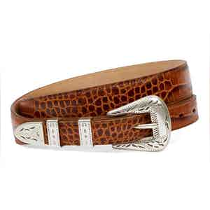 Palladium Cognac Printed Full Grain Leather Belt
