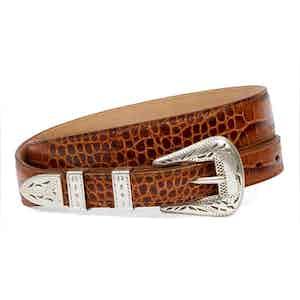 Palladium Cognac Printed Full Grain Leather Belt