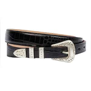 Palladium Black Printed Full Grain Leather Belt