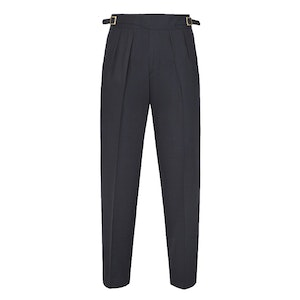 Blue Manny Pleated Flannel Trousers