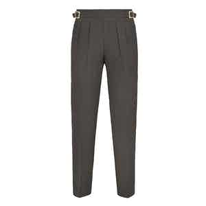 Taupe Manny Pleated Flannel Trousers