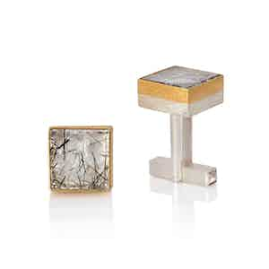24ct Gold, Sterling Silver and Tourmalinated Quartz Cufflinks
