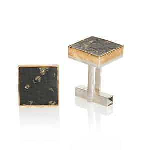 24ct Gold, Sterling Silver and Pyrite Slate Cufflinks