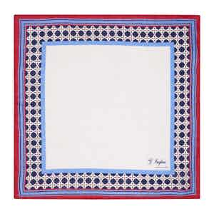 White, Red and Blue Linen Magna Grecia Pocket Square