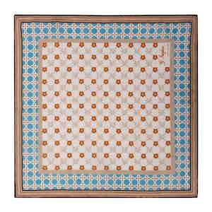 Orange and Blue Cotton Magna Grecia Pocket Square