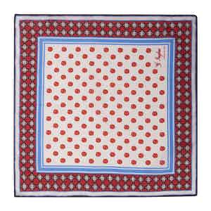 Red and Blue Cotton Magna Grecia Pocket Square