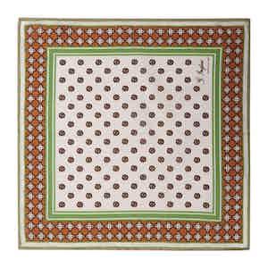 Orange and Green Cotton Magna Grecia Pocket Square