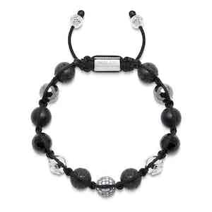 Lava Stone, Hematite, Agate, CZ Diamond and Silver Bracelet