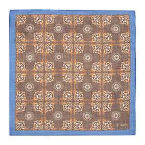 Brown Wool Foulard Ceramic Pocket Square
