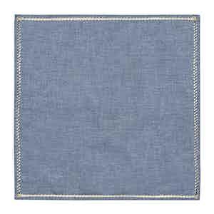 Denim Chambray Cotton Embroidered Column Pocket Square