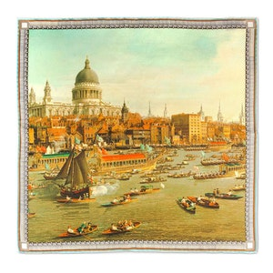 The River Thames on Lord Mayor's Day Silk Pocket Square
