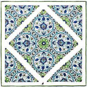 Blue & Green Ottoman Tile Silk Pocket Square