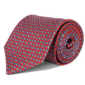 Scarlet and Blue Floral Print Silk Tie
