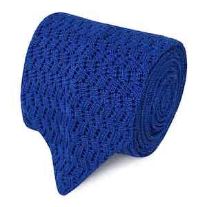 Royal Blue Pointelle Knit Silk Tie