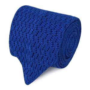 Royal Blue Pointelle Knit Silk Tie