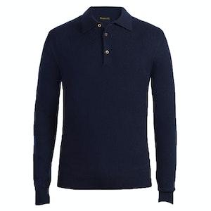 Navy Long Sleeve Cashmere Polo Shirt