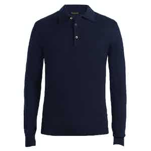 Navy Long Sleeve Cashmere Polo Shirt