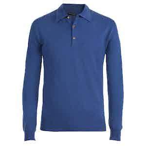 Blue Long Sleeve Cashmere Polo Shirt