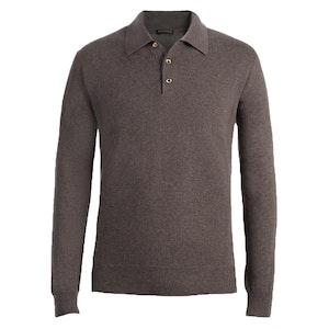 Taupe Long Sleeve Cashmere Polo Shirt