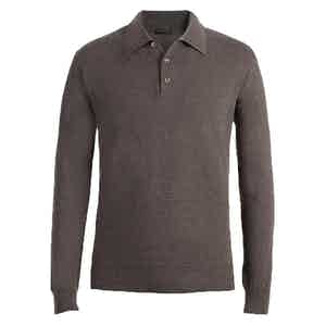 Taupe Long Sleeve Cashmere Polo Shirt