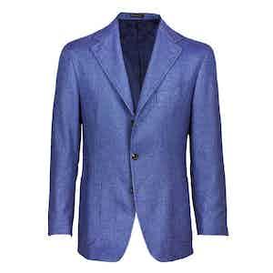 Blue Single-Breasted Cashmere Jacket